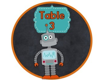 Robot Themed Classroom Decor:  Table Signs