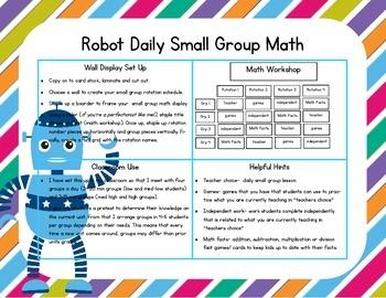 Robot Themed Classroom Small Group Math Center/ Workshop Setup