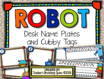 Robot Themed Desk Name Plates and Cubby Tags