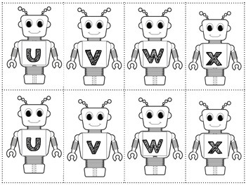 Robot Themed: Memory Match Game (Letters or Numbers)
