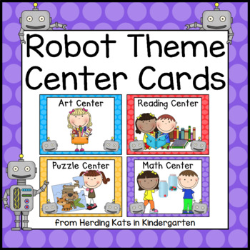 Robot Themed Pocket Chart Center Cards