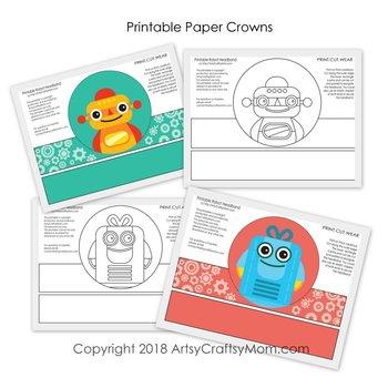 Robot Themed Printable Paper Crowns  - Color + Black & white version