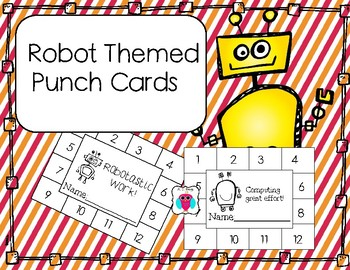 Robot Themed  Punch Cards