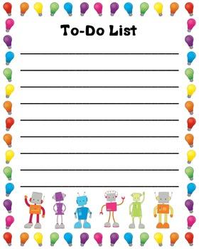 Robot Themed Teacher To-Do List