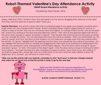 Robot-Themed Valentine's Day SMART Board Attendance Activity w/ Sound