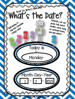 "Robot Themed ""What's the Date?"" Writer's Workshop Date Posters"