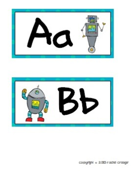 Robot Themed Word Wall Letters