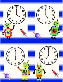 Robot Time Matching Game to the Hour and Half Hour