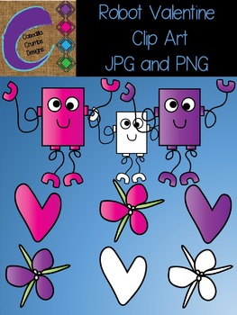 Robot Valentine Clip Art Set
