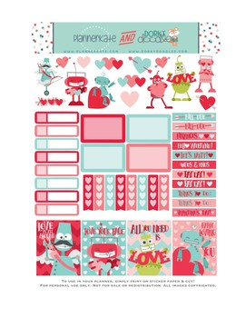 photo relating to Valentine Stickers Printable named Robotic Valentine Stickers Planner Printable - Valentines Working day Printable Stickers