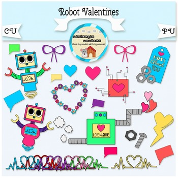Robot Valentines - Valentines Day - Love - Robot - Colorful
