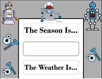 Robot Weather Chart! Robot Bulletin Board! Robot Theme! Robot Technology Decor!