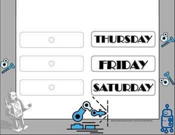 Robot Weekday Chart! Robot Bulletin Board! Robot Theme! Technology Bulletin!