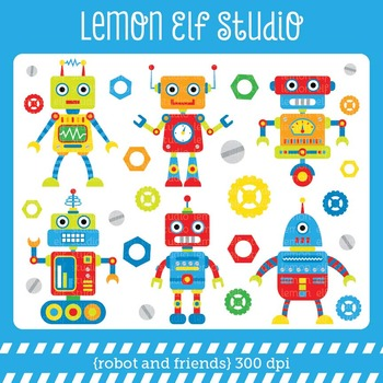 Robot and Friends-Digital Clipart (LES.CL37A)