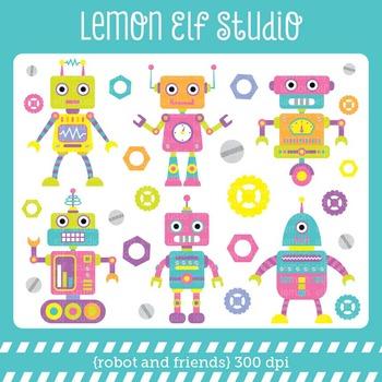 Robot and Friends-Digital Clipart (LES.CL37B)