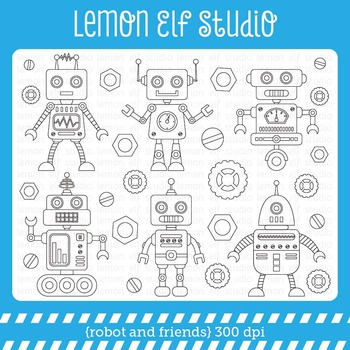 Robot and Friends-Digital Stamp (LES.DS37)