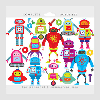 Robot clipart - robots clip art, gears nuts bolts robot digital papers whimsical