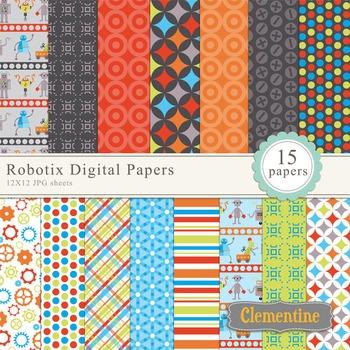 Robot digital paper 12x12, digital scrapbook paper