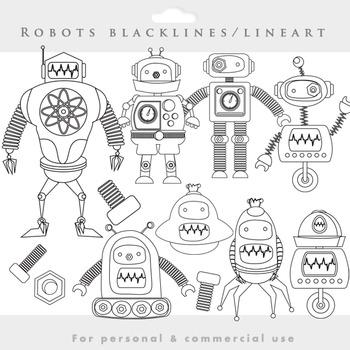 Robot lineart clipart - robots blacklines clip art, gears, nuts, bolts