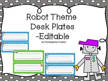 Robot theme Deskplates - Editable