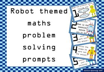 Robot themed maths problem solving prompts