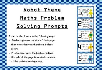 Robot themed maths problem solving prompts - bookmarks