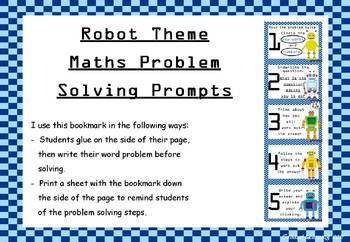 Maths Problem Solving Prompts - bookmarks: Robot theme