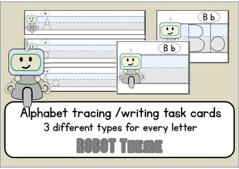 Robot writing cards - Alphabet letter tracing cards & worksheets