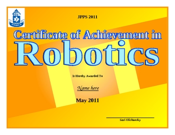 Robotics Award