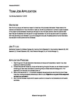 Robotics Team Job Application Task