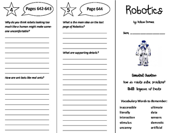 Robotics Trifold - Journeys 6th Grade Unit 5 Week 5 (2011)