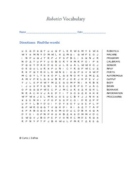 Robotics Vocabulary Word Search By Curtis Sensei Tpt