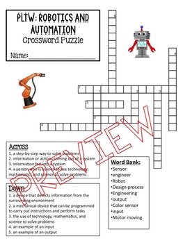 Robotics and Automation Vocabulary Crossword Puzzle
