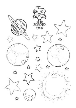 Roboto Kids - Earth, Sun and Moon Color and Cut