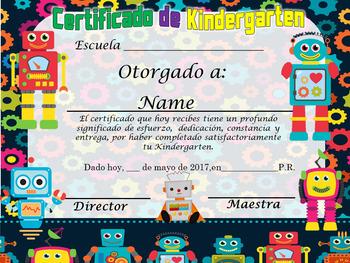 Robots Achievement Award English & Spanish version Editable