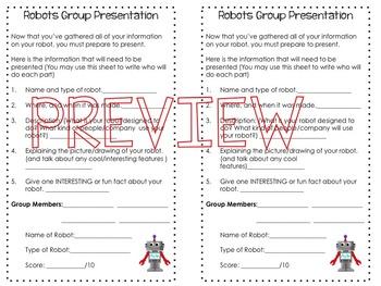 Robots App BUNDLE (App Scavenger Hunt, Group Project, Rubrics, Presentation info