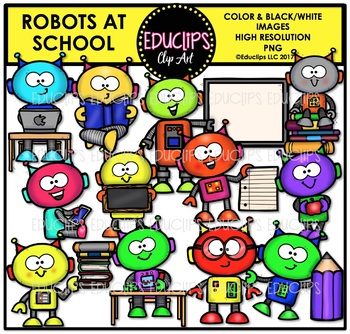 Robots At School Clip Art Bundle {Educlips Clipart}
