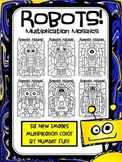 Robots Attack! Multiplication Mosaics- Color By Multiplication Fact Fun!