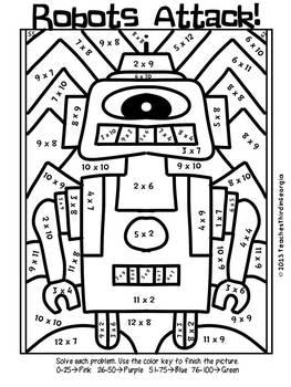 Robots Attack! Multiplication Mosaics- Color By Multiplication Fact Fun!