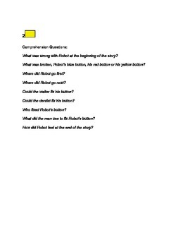 """Robot's Broken Button"" Story Comprehension Questions"