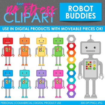 Robots Clip Art (Digital Use Ok!)
