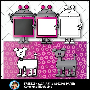 Robots Clip Art and Digital Paper for Free