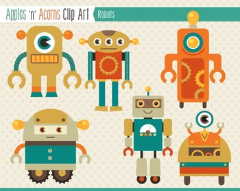 Robots Clip Art - color and outlines