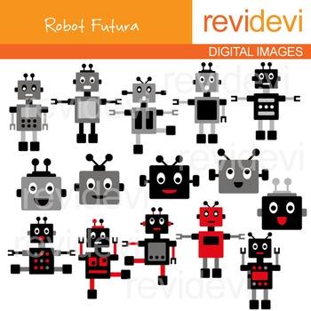 Robots Clip art - Black, Grey, Red