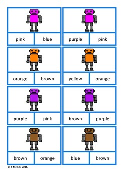 Color Matching Clip Cards, Robots, Autism Special Education, Speech Therapy