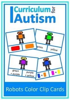 Autism, Robots Color Clip Cards, Special Education, ABA, S
