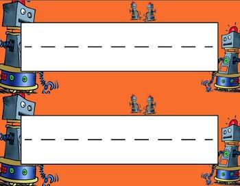 Robots Desk Name Tag Plates Set