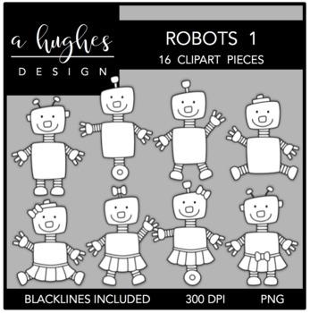 Robots 1 Clipart {A Hughes Design}