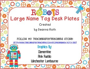 Robots Large Name Tags/Desk Plates--Editable