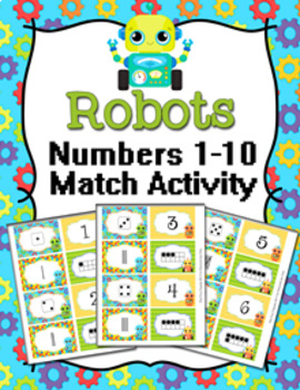 Robots Numbers 1-10 Match Activity